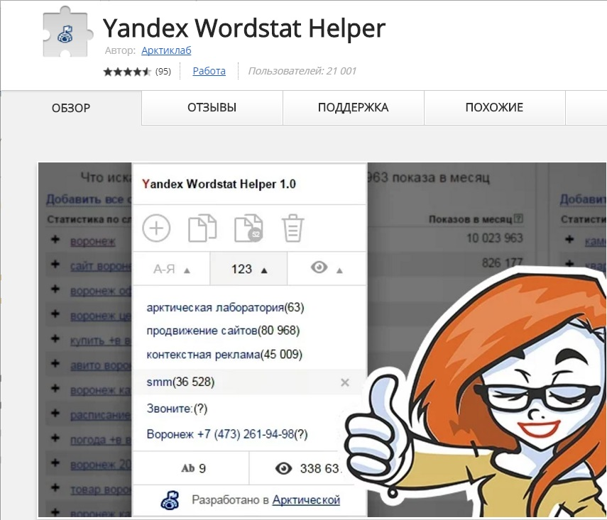 Wordstat Helper расширение под браузер Хром